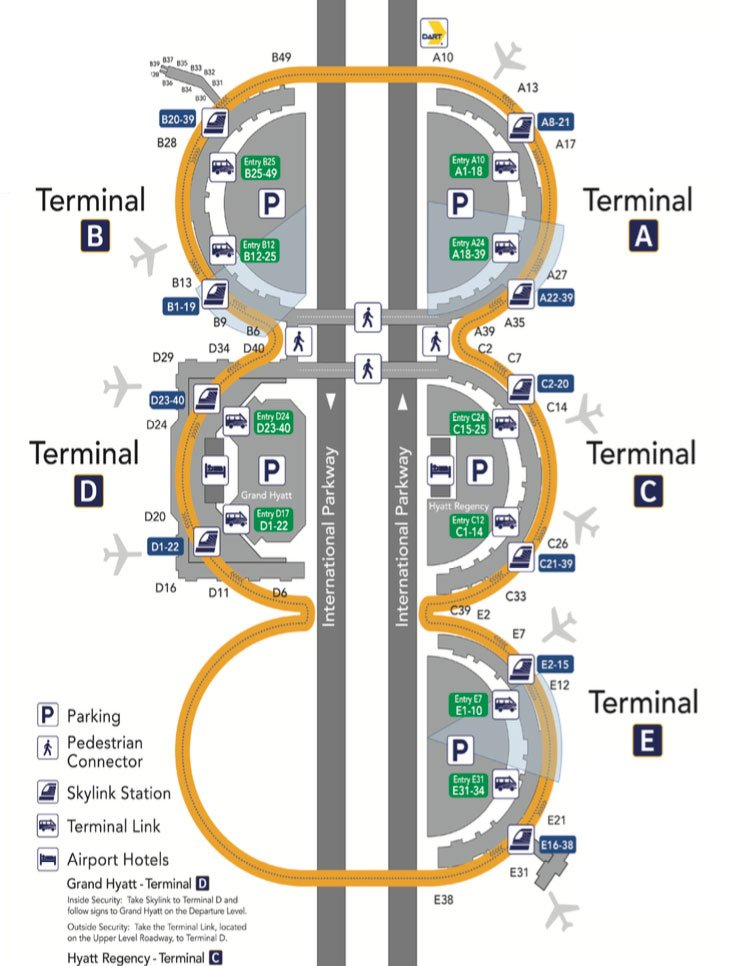 Dallas Texas Airports Map How to Get Between Terminals at Dallas/Fort Worth Airport (DFW)