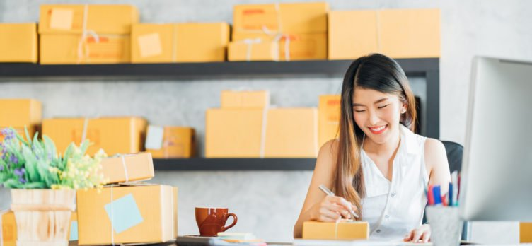 Woman Running Shipping Business