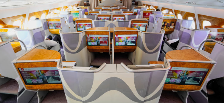 Emirates A380 Forward Business Class Cabin