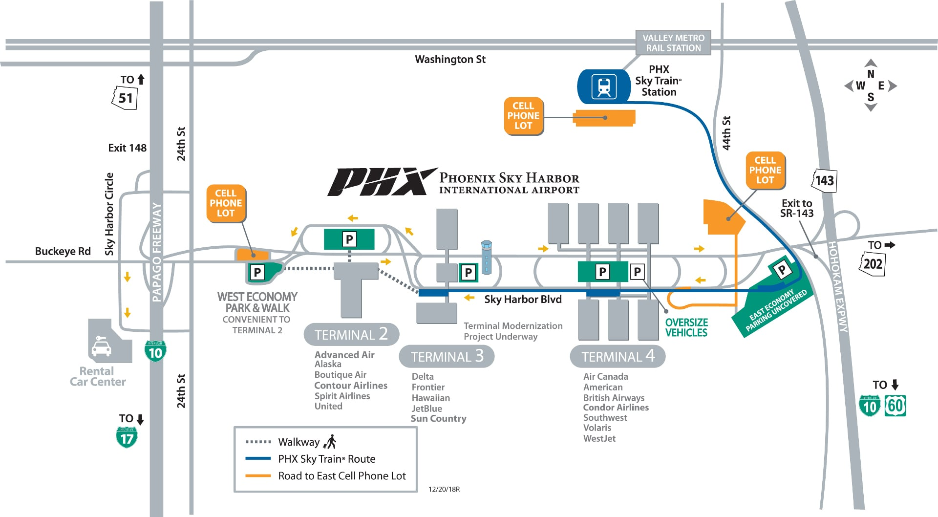 sky harbor map terminal 4 Phoenix Sky Harbor International Airport Phx Terminal Guide sky harbor map terminal 4