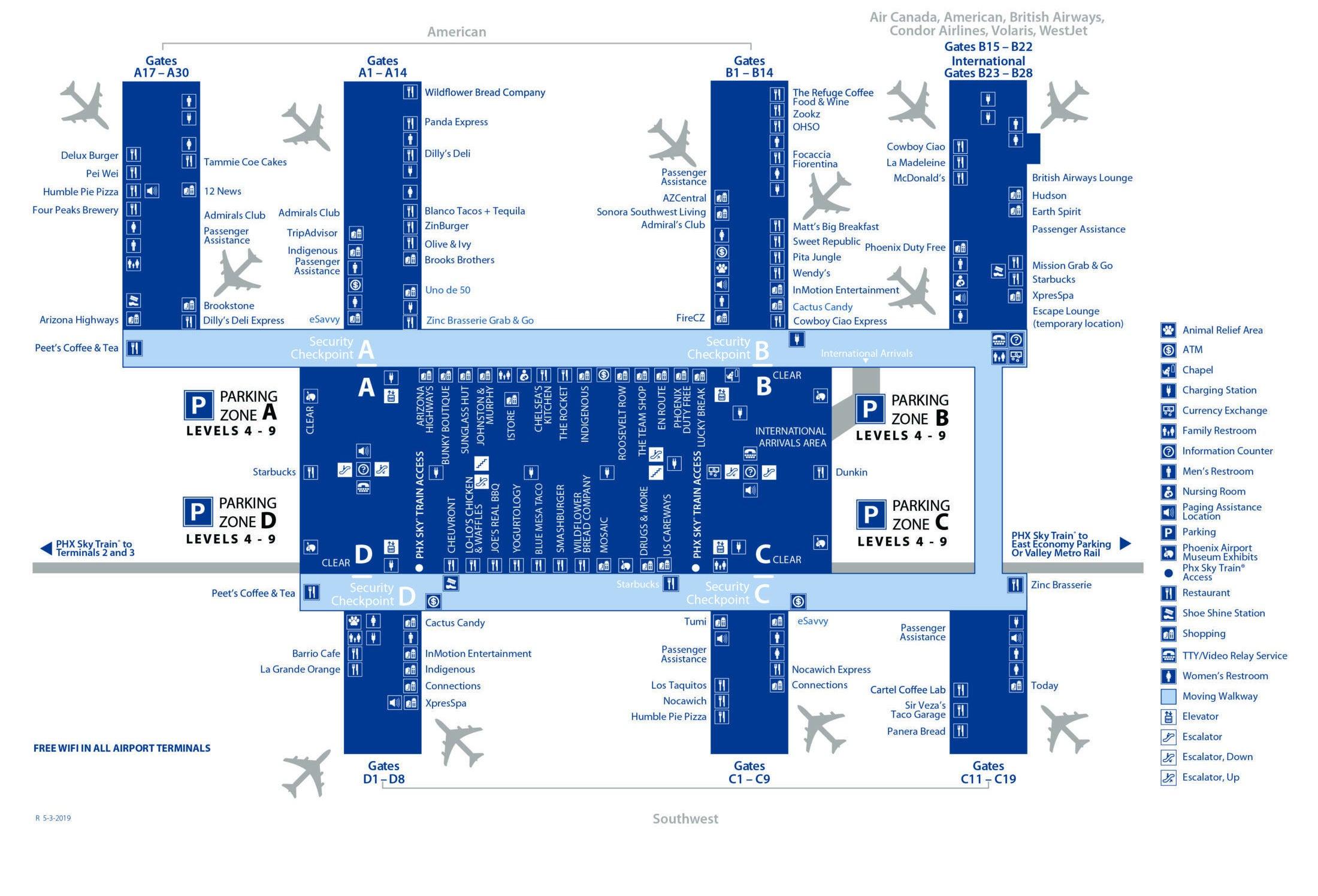 phoenix airport terminal 4 map Sky Harbor Airport Terminal 4 Map phoenix airport terminal 4 map
