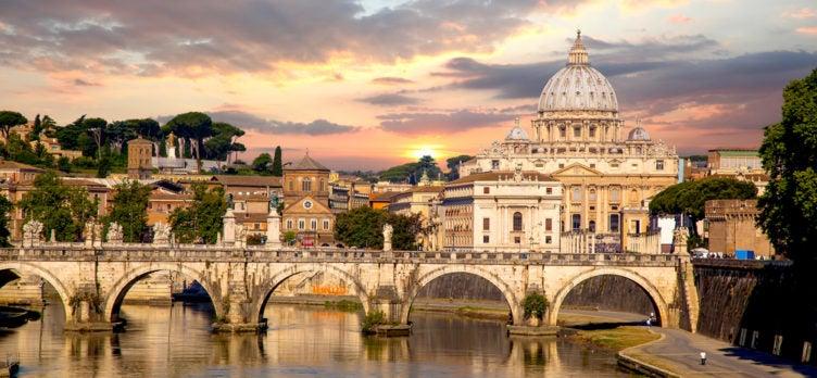 Rome, Bridge & Basilica di San Pietro