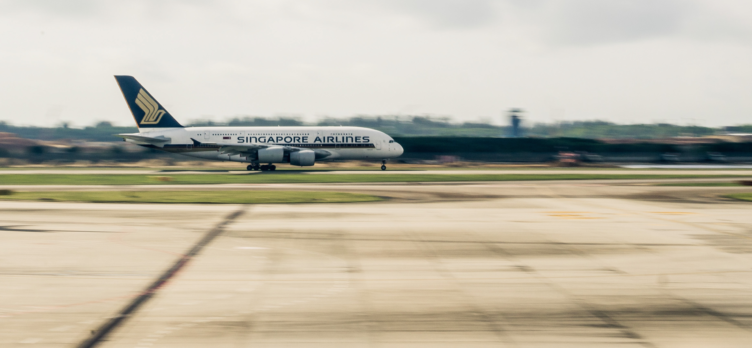 Singapore Airlines A380 landing at SIN.