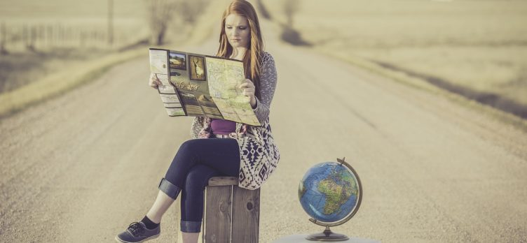 girl looking at map