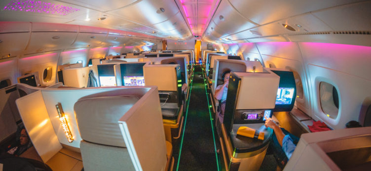 Etihad Airways Airbus A380 Business Class Cabin Mood Lighting