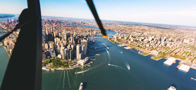 Helicopter Flying Over Manhattan