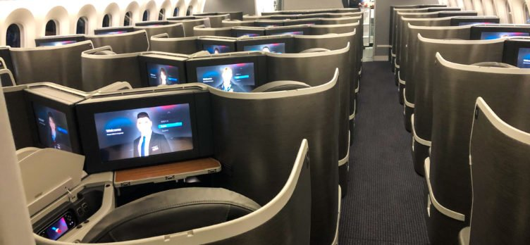 American Airlines 787-9 Flagship Business Class rear cabin view