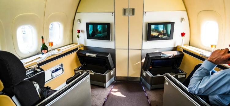 Lufthansa B747-8 First Class Seat 1A and 1K - Cherag Dubash
