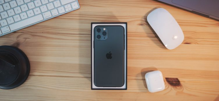 iPhone 11 Pro in Retail Packaging On A Desk