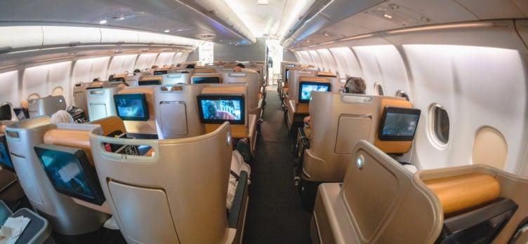 Qantas Airbus A330 Business Class Cabin from Rear