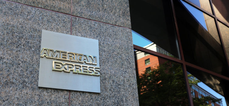 American Express Sign on An Urban Building