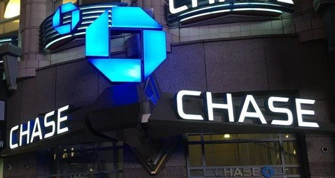Chase bank night exterior