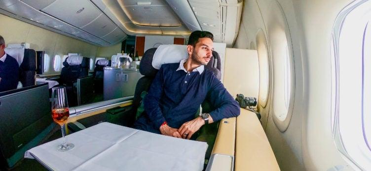 Lufthansa B747-8 First Class pajamas - Cherag Dubash