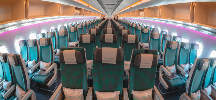 Fiji Airways Airbus A350 Economy Class Cabin from Front