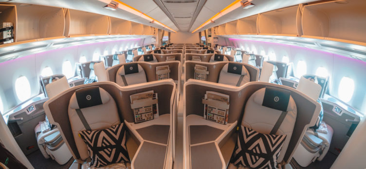 Fiji Airways Airbus A350 Business Class Cabin from Front