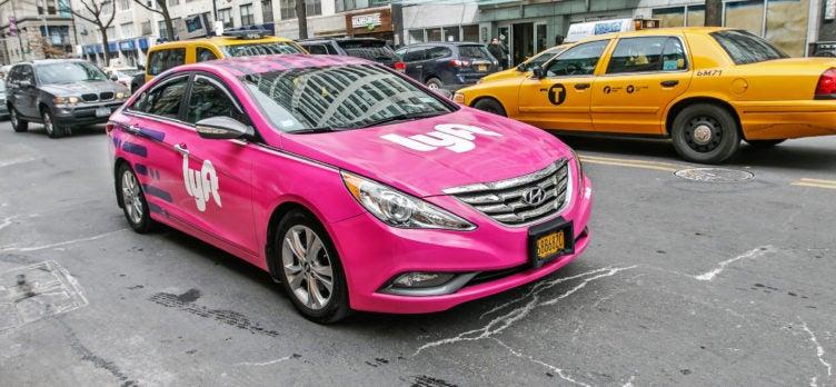 Pink Car With Lyft Branding in Manhattan