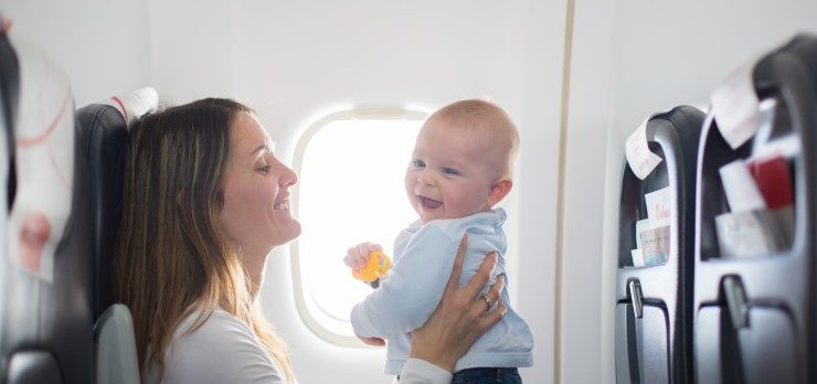 Mother and Lap Child Baby on Airplane