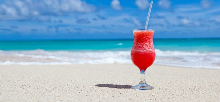 Frozen drink on beach