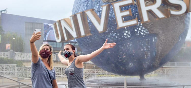 Universal Orlando Reopening Entrance with 2 girls Wearing Masks