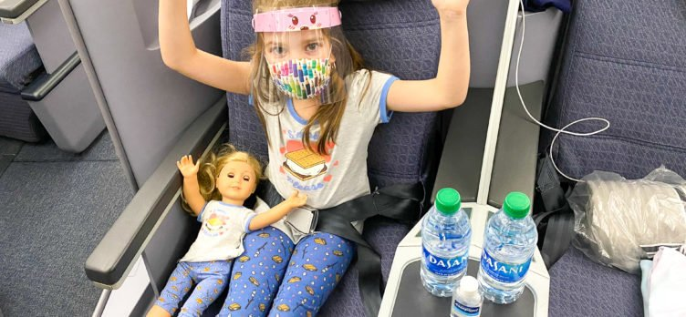 American Girl Doll in United Boeing 787 Dreamliner Polaris Business Class