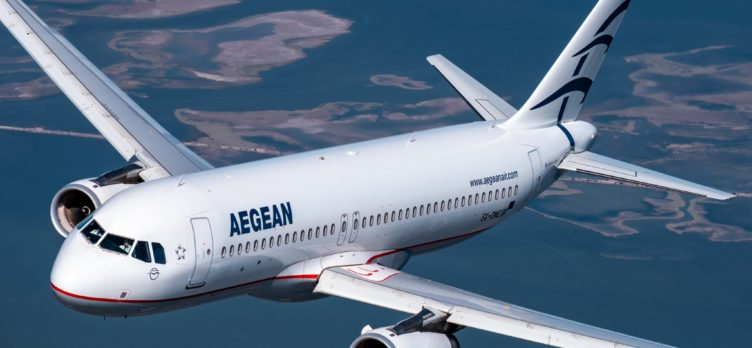 Aegean Airlines plane over sea