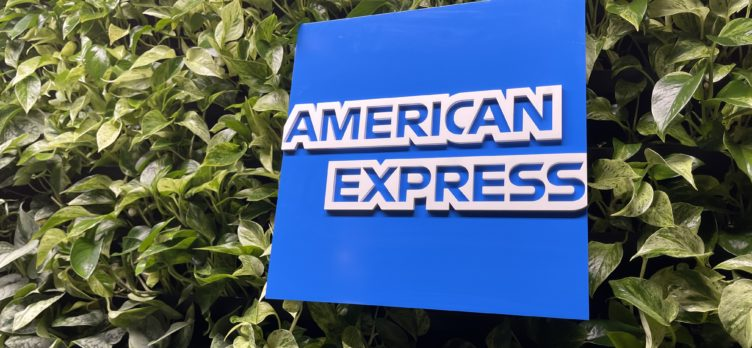 American Express logo on green wall of Centurion Lounge Phoenix