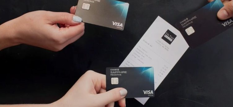 Chase Sapphire Reserve cards paying for a restaurant bill