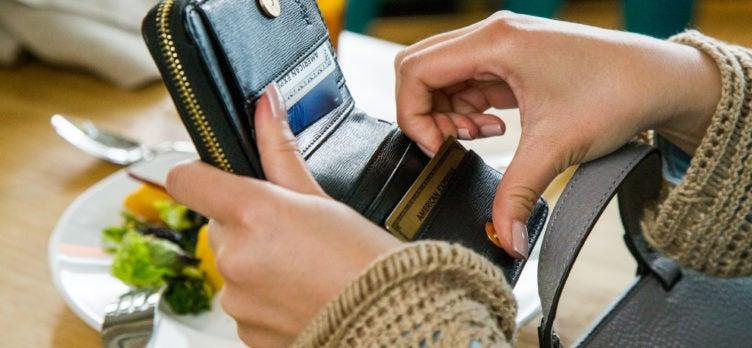 Amex Gold Card Amex Platinum Card in wallet