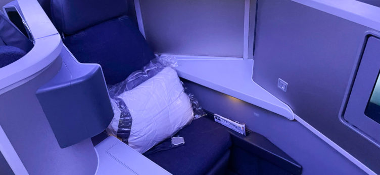 American Airlines 777 Flagship Business Class middle seat