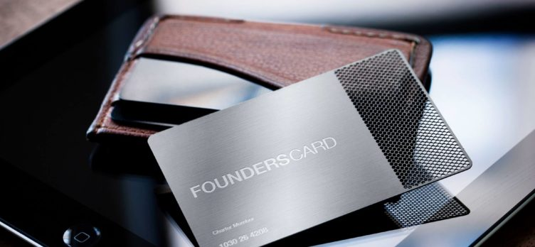 FoundersCard with wallet and tablet