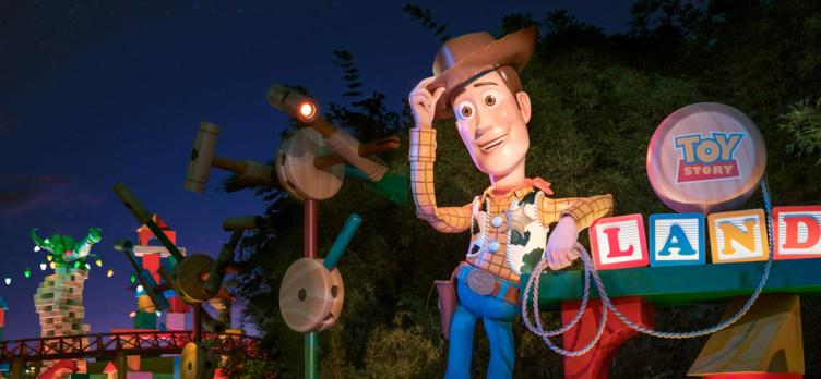 Woody at Toy Story Land entrance at Disneys Hollywood Studios
