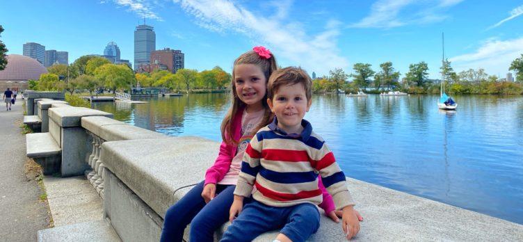 Kids near the Charles River Esplanade in Boston MA