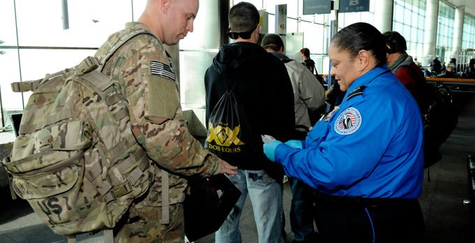 TSA agent and soldier