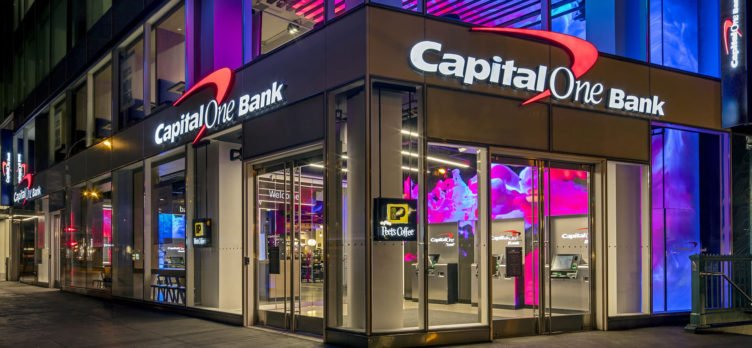 Capital One Bank Union Square Flagship at night