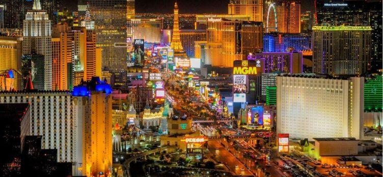 Las Vegas Strip at night with lights