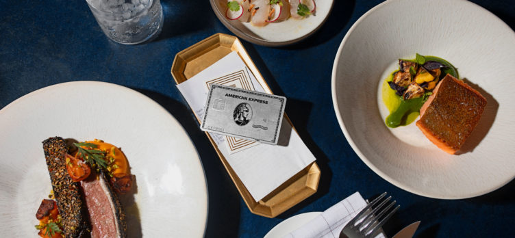 Amex Platinum card at restaurant dining