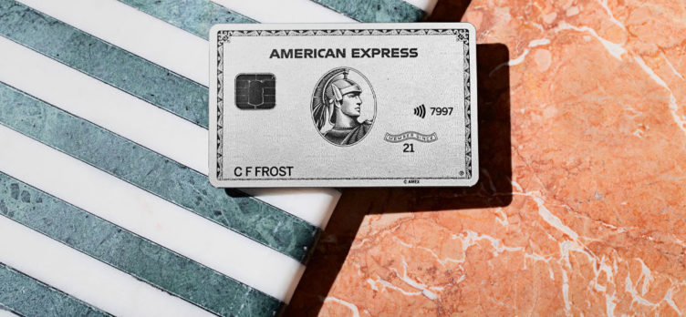 Amex Platinum card with striped and marbled background