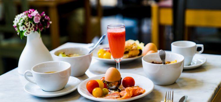 Hotel breakfast spread