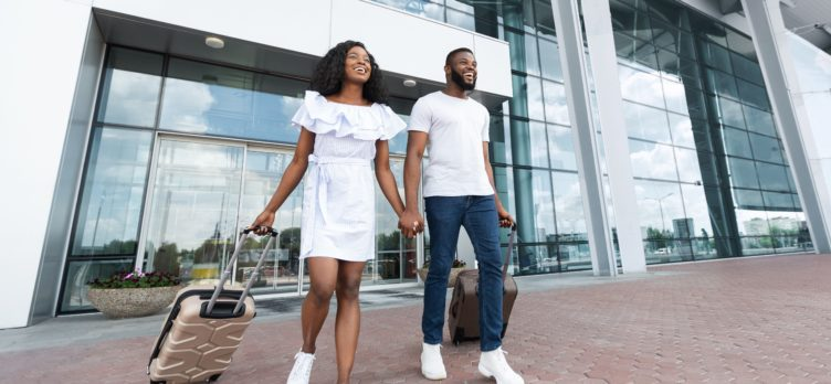 couple exiting airport