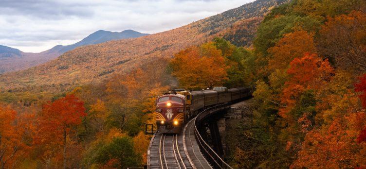 New Hampshire train during foliage season