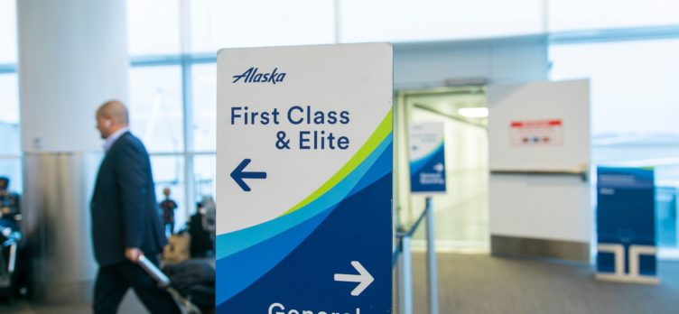 Alaska Airlines boarding sign
