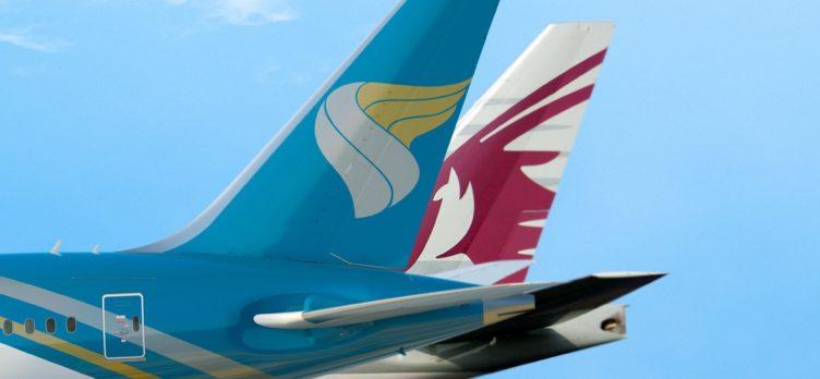 Oman Air Qatar Airways tails